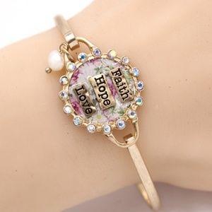 -FAITH HOPE LOVE- Metal Hook Bracelet